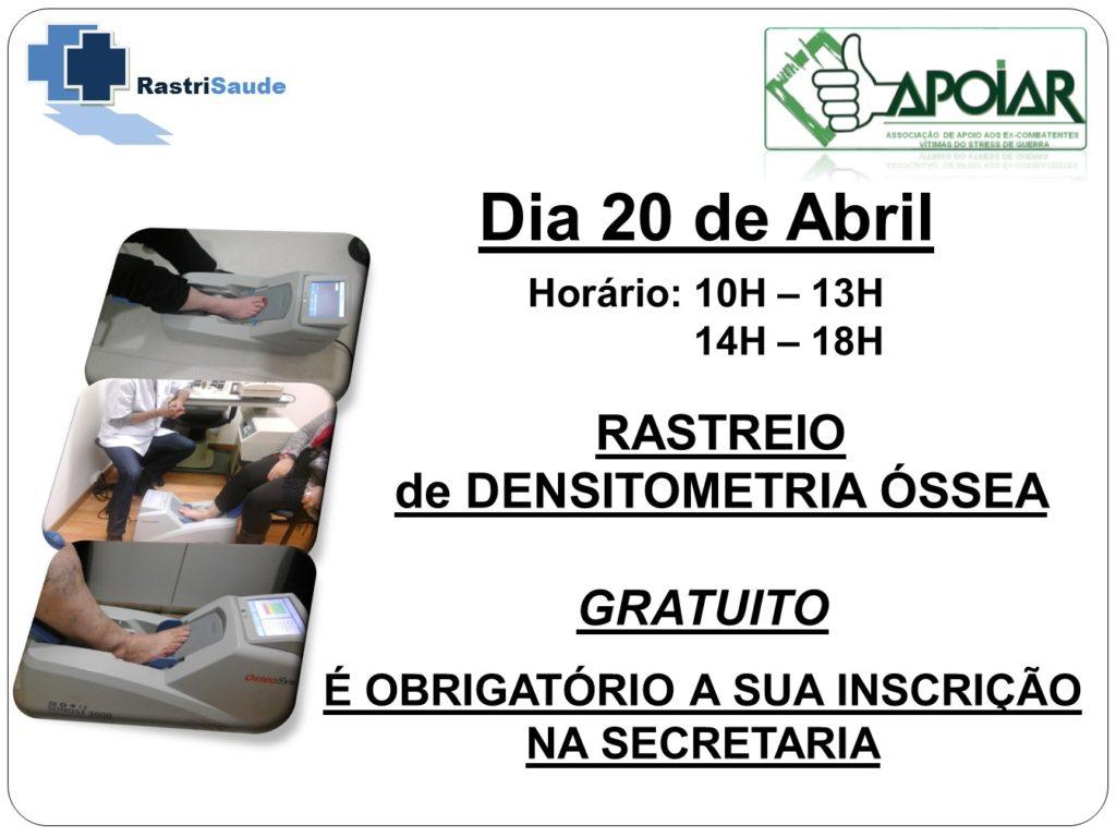 Rastreio Densitómetria Óssea na APOIAR - 20 de Abril